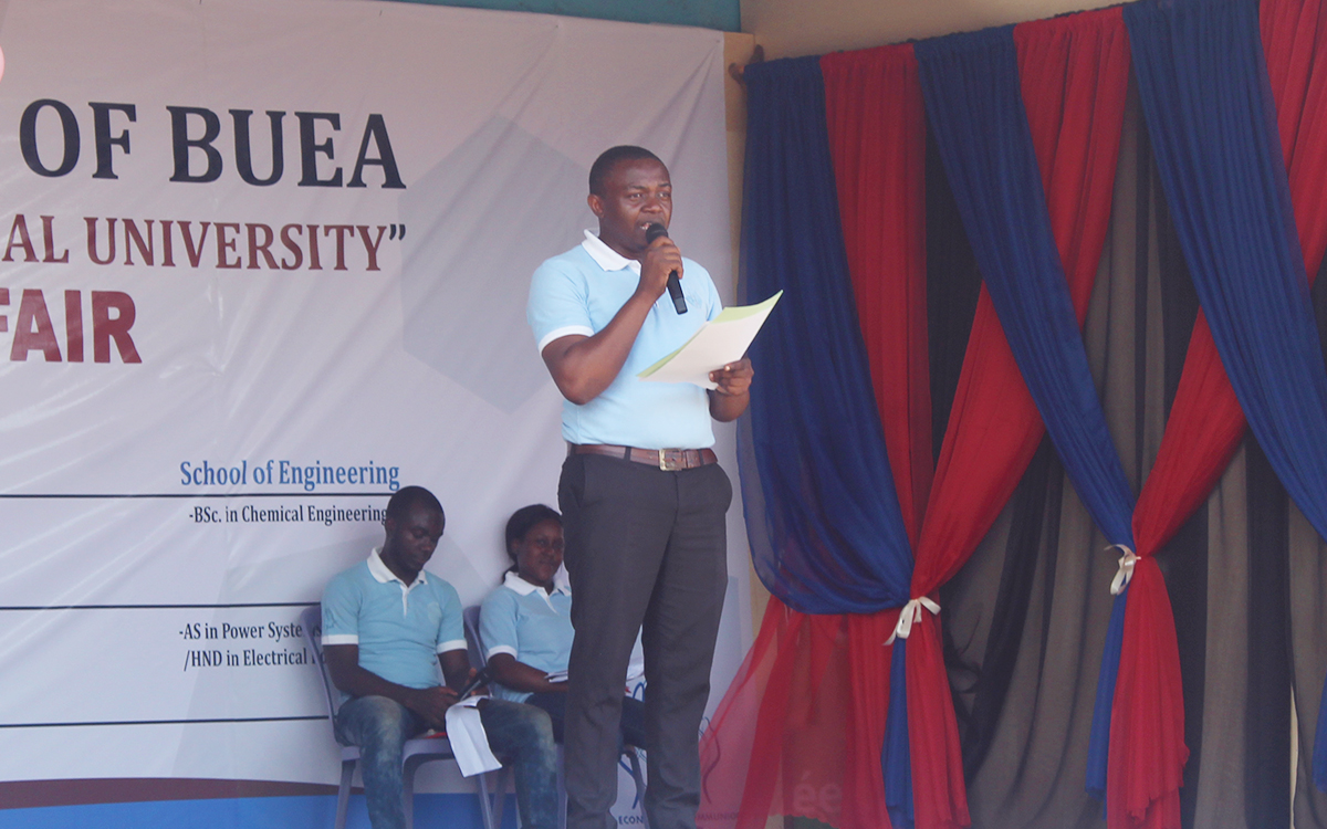 Dr Fabrice, Director CUIB Douala campus addressing the audience during the closing ceremony